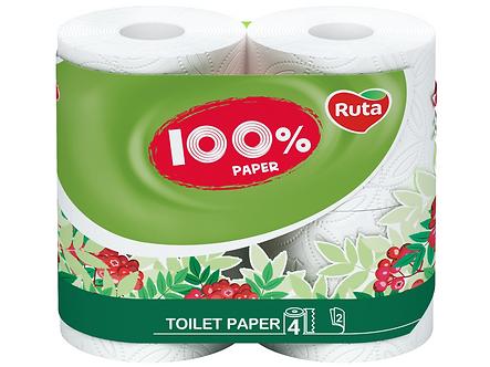 """Папір туал. """"100% Paper"""" 4 рул., На гільзі, 2-х сл., Білий  rt.43991"""