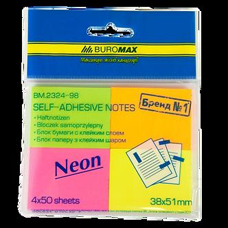 Блок паперу для нотаток NEON 38х51мм, 50 аркушів, ассорті (4 штуки в блістері),