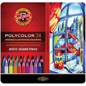 Олівці кольор. художні POLYCOLOR, 24 кол., мет.уп. 3824024002pl