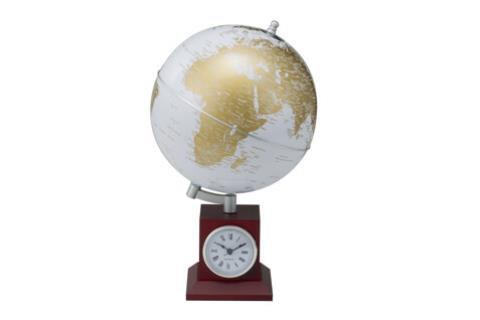 Глобус (20 см) gold на дер. підставці з годинником  3385XDU