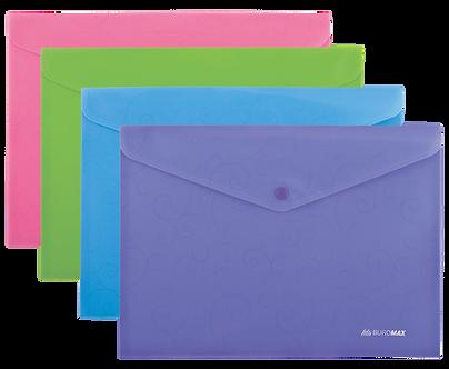 Папка-конверт А4 на кнопці, BAROCCO, непрозора, асорті BM3928