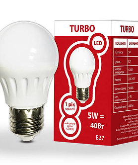LED лампа G45 5Вт Е27 шар 4200K TURBO  534304