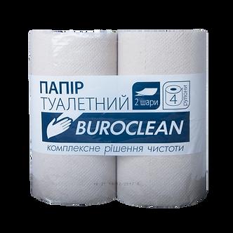 """Папір туалетний макулатурний """"Buroclean"""", 4 рулона, на гільзі, двошарові, сіра"""