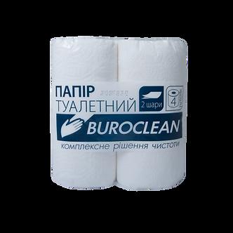"""Папір туалетний целюлозний """"Buroclean"""", 4 рулони, на гільзі, двошарові, біла"""