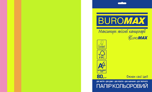 Набір кол. паперу неон, А4, 4кол. по 50л, 200л,  BM.27215200E-99
