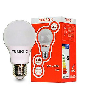 Лампа LED А60 9Вт Е27 4200К TURBO-C   534331