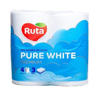 """Папір туал. """"Pure White"""" 4 рул., На гільзі, 3-х сл., Білий RUTA  rt.4753"""