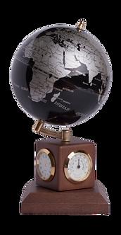 Глобус BLACK SILVER на дер. підставці метеостанція  0966HJX-BS
