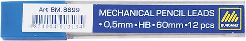 Стрижні для механічного олівця HB 0.5-0,7мм, 12шт. BM.8699