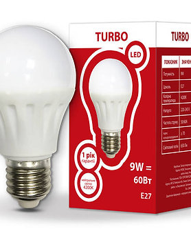 LED лампа А60 9Вт Е27 4200K TURBO  534308