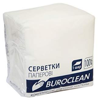 Серветки паперові, 240*240 мм, 100шт, в пп упаковці, білий