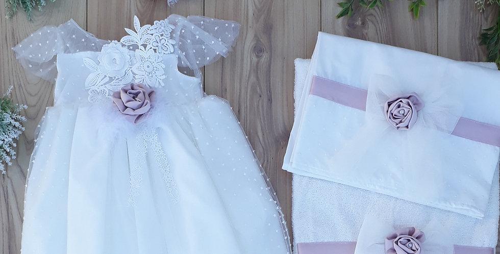 Σετ λευκό φόρεμα με τούλι + λαδόπανα με λιλά λουλούδια / 6