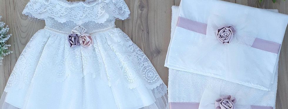 Σετ φόρεμα με χαμόγελο +λαδόπανα με λιλά λουλούδι /13