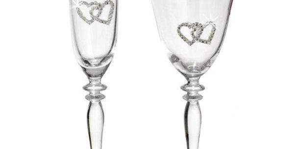 Ποτήρι κρασιού καμπάνα με καρδιές