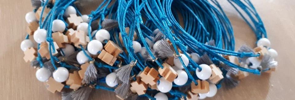 Μαρτυρικά για αγόρι βραχιολάκι χρώματος μπλε ρουά.