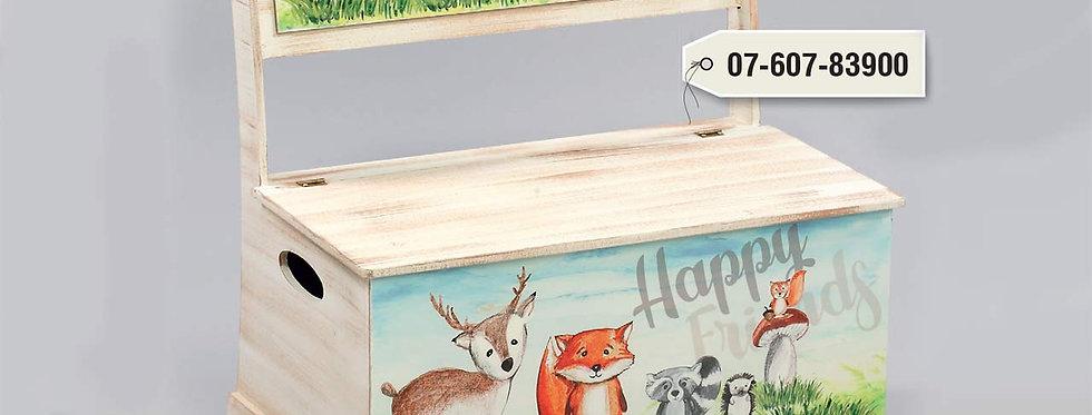 """Ξύλινο κουτί-παγκάκι βαπτιστικών """" Ζώα του Δάσους """"."""