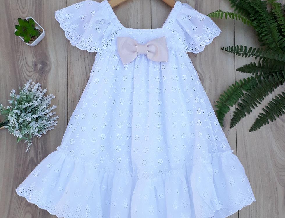 Βαπτιστικό φόρεμα με ροζ φιόγκο - παπιγιόν