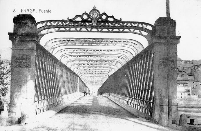 Postal puente de hierro. Asociación Amigos y Vecinos del Casco Histórico de Fraga.