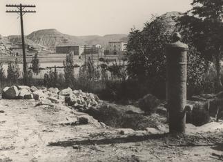 Línea Barcelona - Zaragoza. Fraga, J. Gaspar. 1927. Archivo Histórico Fotográfico de Telefónica.