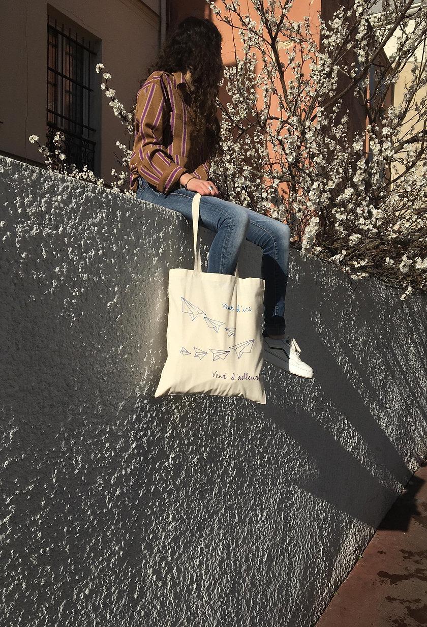 Kit de broderie - Sac Tote bag - Le vent