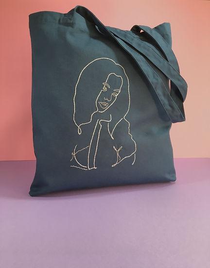 Kit de broderie - tote bag - the girl.jp