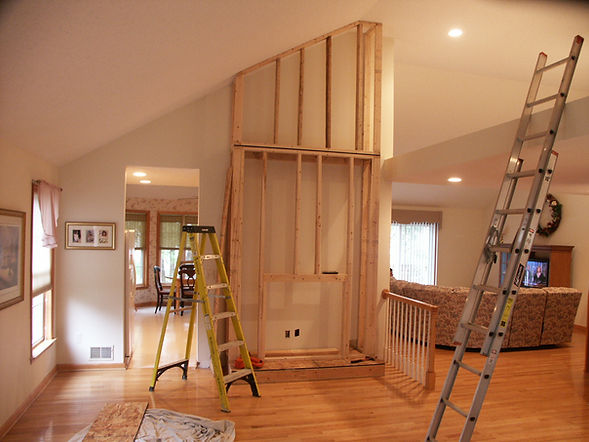 Carpentry and Handyman building a timber stud wall to take an Electric fireplace suite