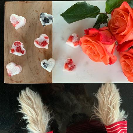 Valentine's Day Dog Treats-  Frozen Coconut Hearts