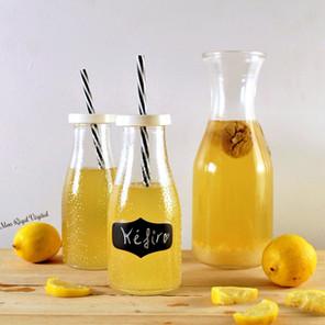 Kéfir de grains fermenté au citron (méthode 1: une seule fermentation) {Végane, sans gluten}