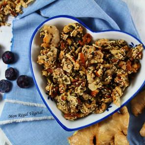 Granola vivant sans grains aux noix, chanvre, gingembre & bleuets