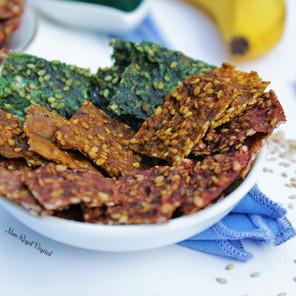 Craquelins tricolores faciles banane, sésame & superaliment (spiruline, betterave ou curcuma)