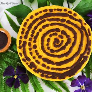 Gâteau sans cuisson à la patate douce & son coulis choco-miso sur croûte de brownie cru