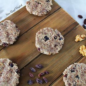 Biscuits crus aux amandes, noix de coco et raisins secs (au déshydrateur)
