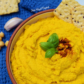Hummus estival carotte, gingembre & curcuma aux pois chiches germés {Végane, sans gluten}