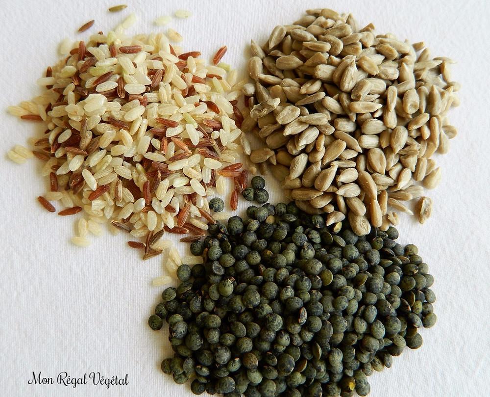 Riz brun et sauvage, graines de tournesol et lentilles françaises