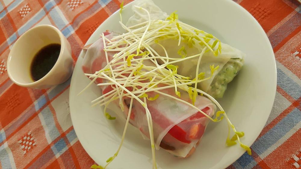 Rouleaux de printemps avec feuilles de riz: zucchinis et chanvre + poivrons, champignons et lentilles germées