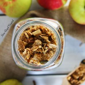 Granola automnal pommes/poires, érable & pacanes {Végane, sans gluten}