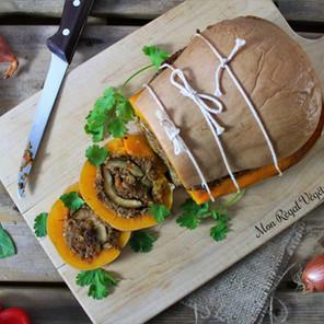 Rôti de Noël: courge butternut farcie & sauce Gravy {Végane, sans gluten}
