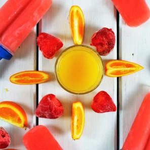 Popsicles ultra-simples aux fraises & jus d'orange  {Végane, sans gluten, sans sucre raffiné}