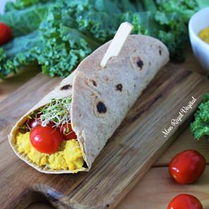 Wrap de pois chiches style sandwich aux oeufs {Végane, sans gluten, hypotoxique, option low ox}