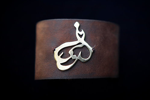 Eshq (Love) Brass & Leather Unisex Cuff Bracelet