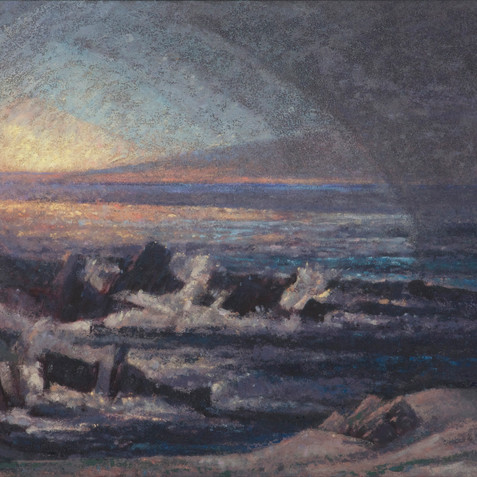 last breakthrough of light, Brittany series - Oil on canvas - 195x97 2009