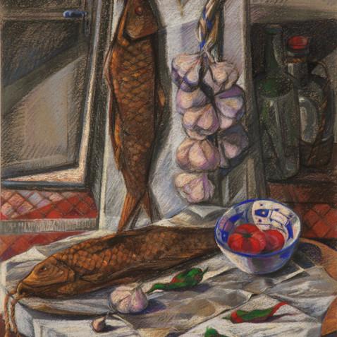 Poisson fumé - Pastel on cardboard - 65x100 1994