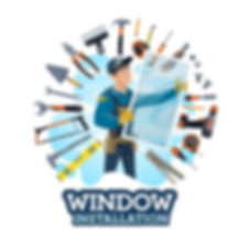 Cartoon logo of a handyman and all of his tools to install a window