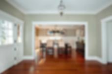 Unfurnished room, new hardwood floors, crown molding, white doors