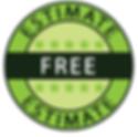 Free estimte logo. Green Black and white with 5 stars
