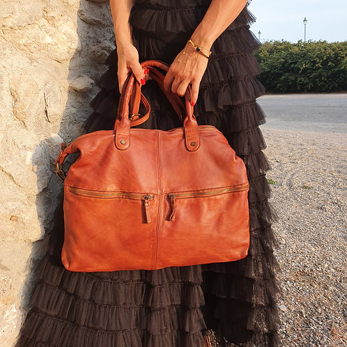 Sac Cuir Made in Italy Cognac XL