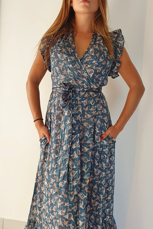 Robe Longue Imprimé Bleu Fleuri Scarlett Ross