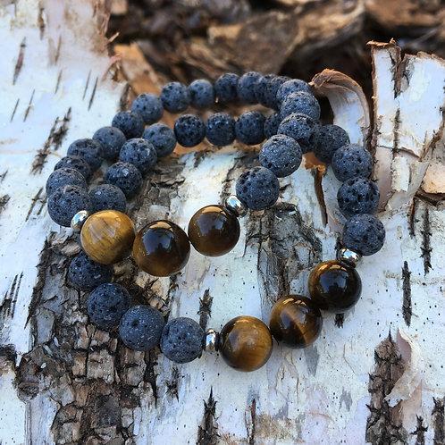 Lava Stone Bracelet-Tiger's Eye
