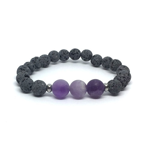 Lava Stone Bracelet-Amethyst
