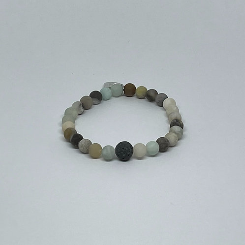 Amazonite Bracelet with Lava Stone